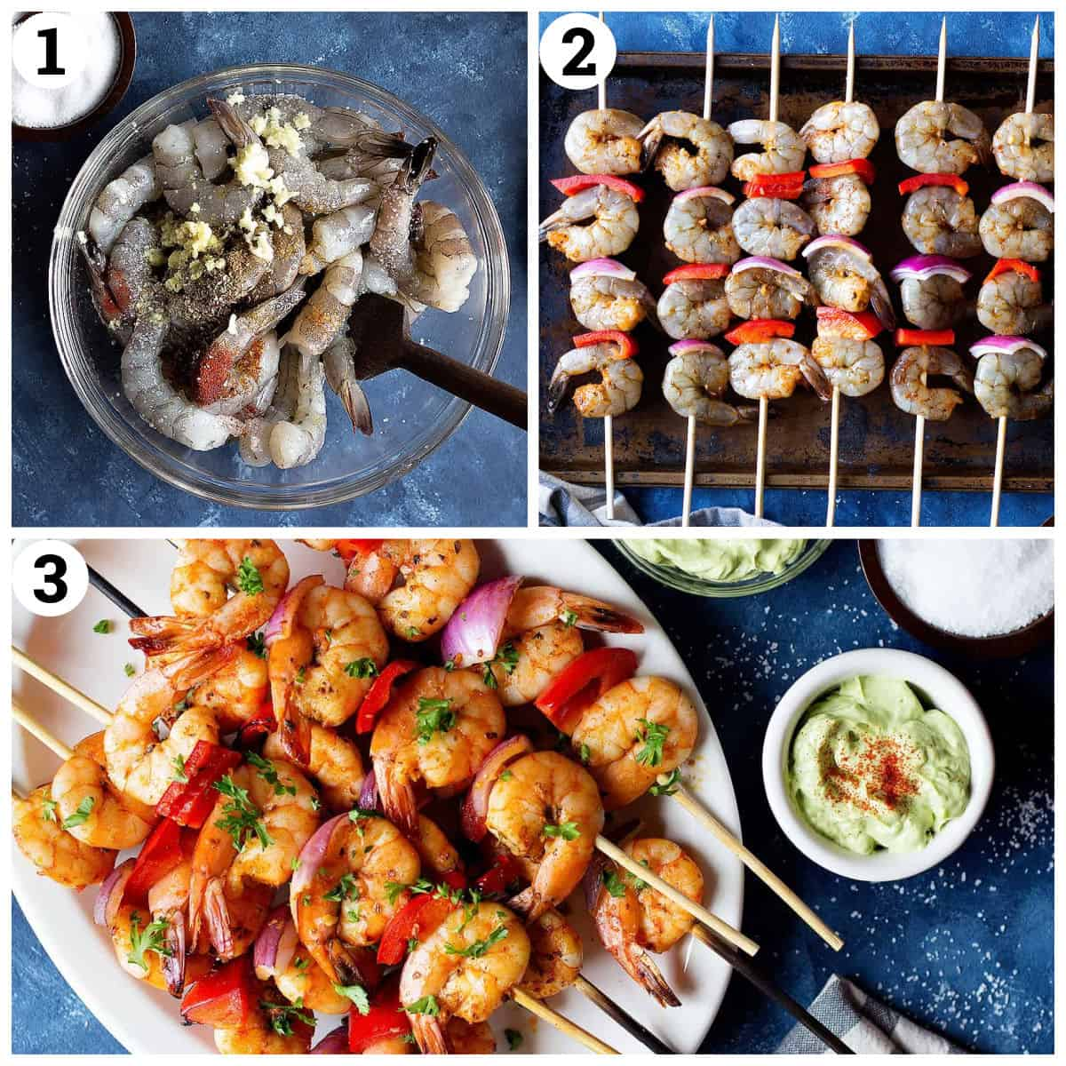 marinate the shrimp, preheat the grill and grill the shrimp kabobs.
