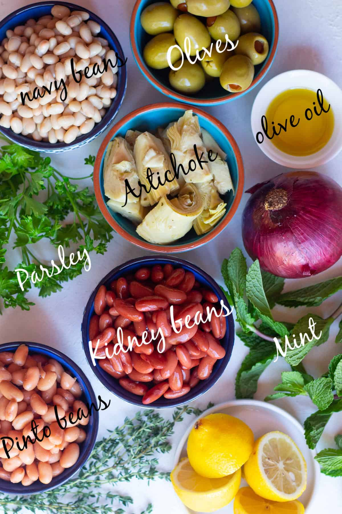 To make this salad, you need navy, kidney and pinto beans. You also need herbs, onion, artichoke and olives.