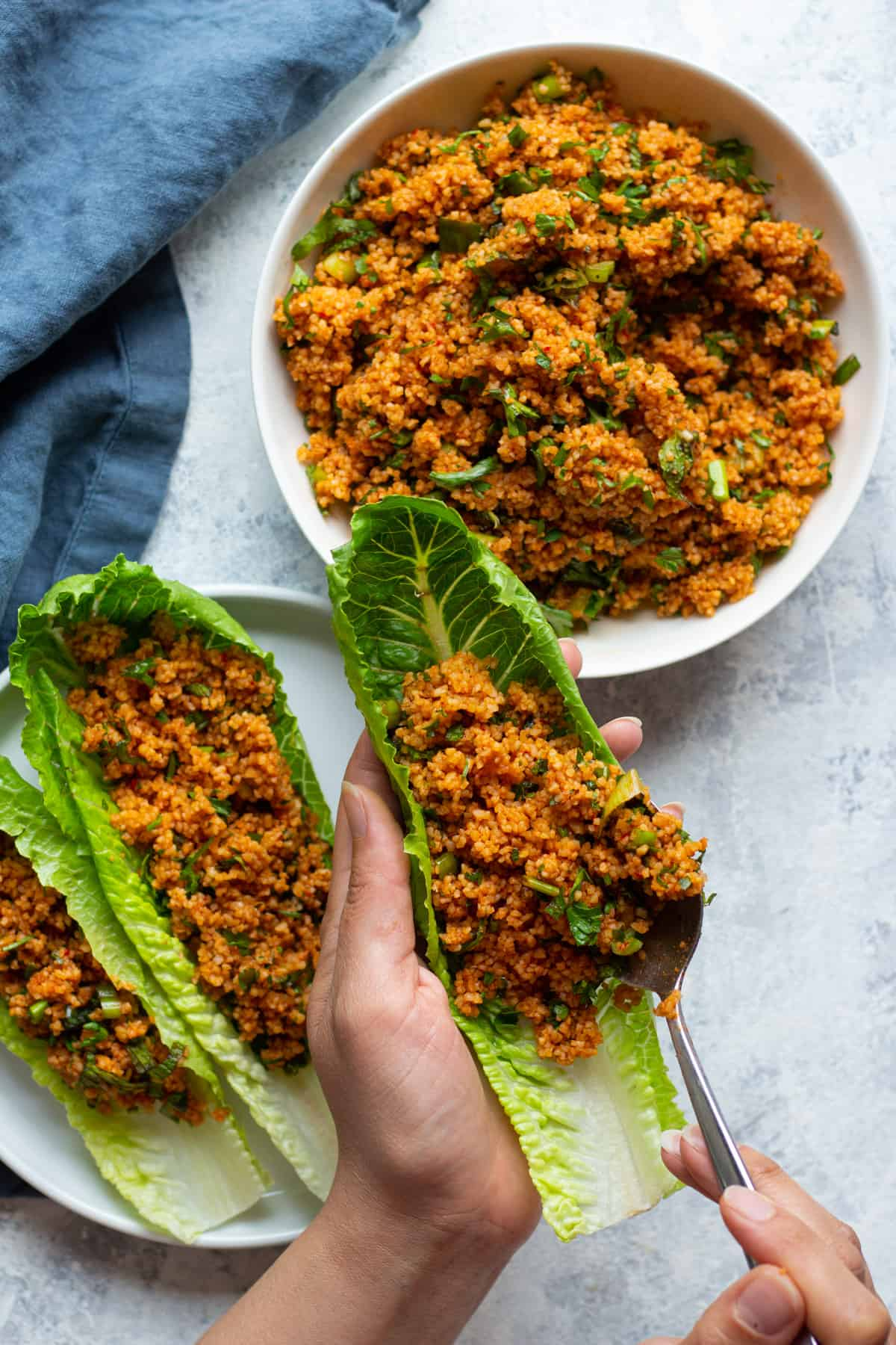 Homemade bulgur salad is healthy and can be served as a light lunch or appetizer.