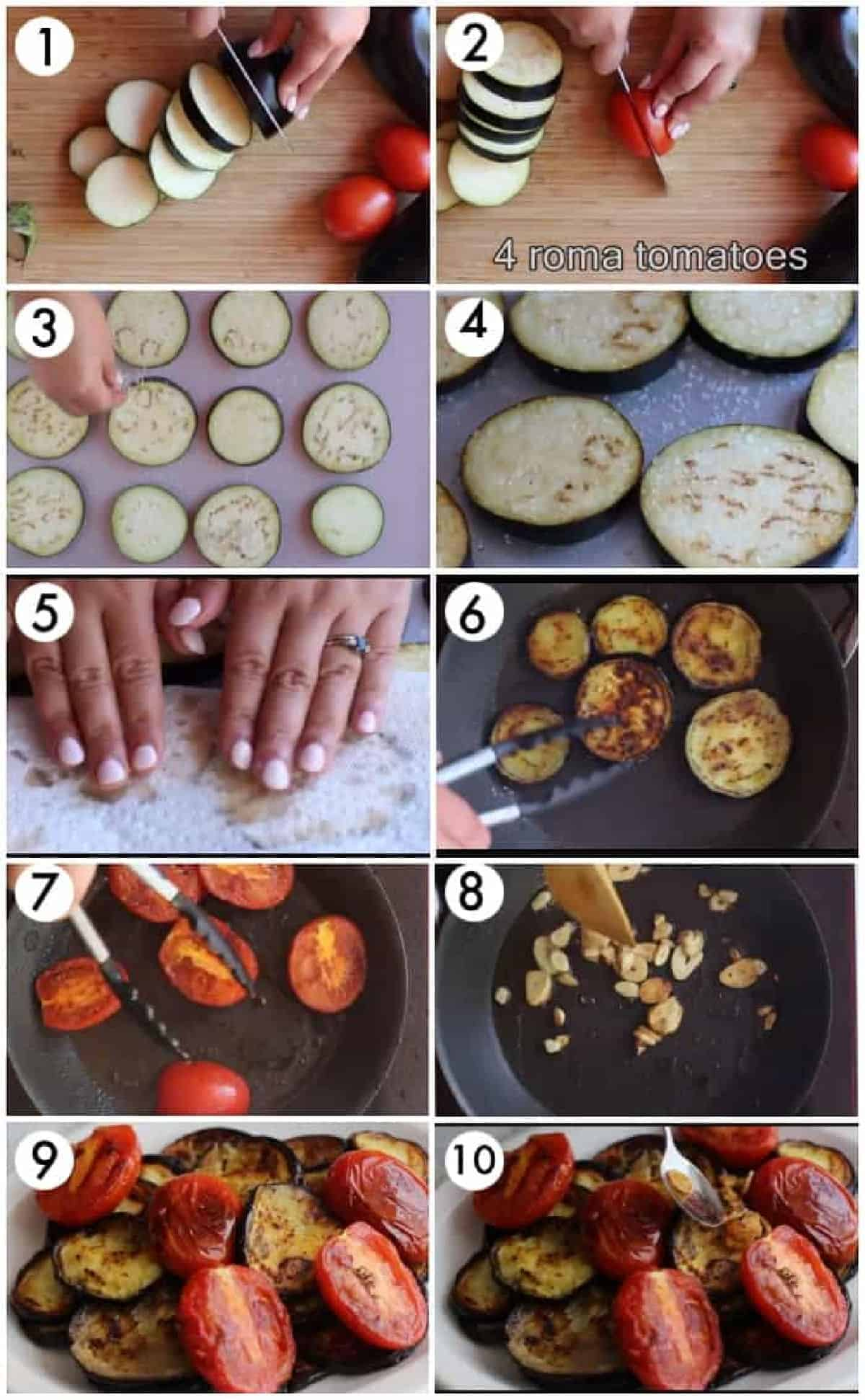 salt the eggplant and fry in oil. fry the tomatoes and garlic and serve with yogurt sauce.