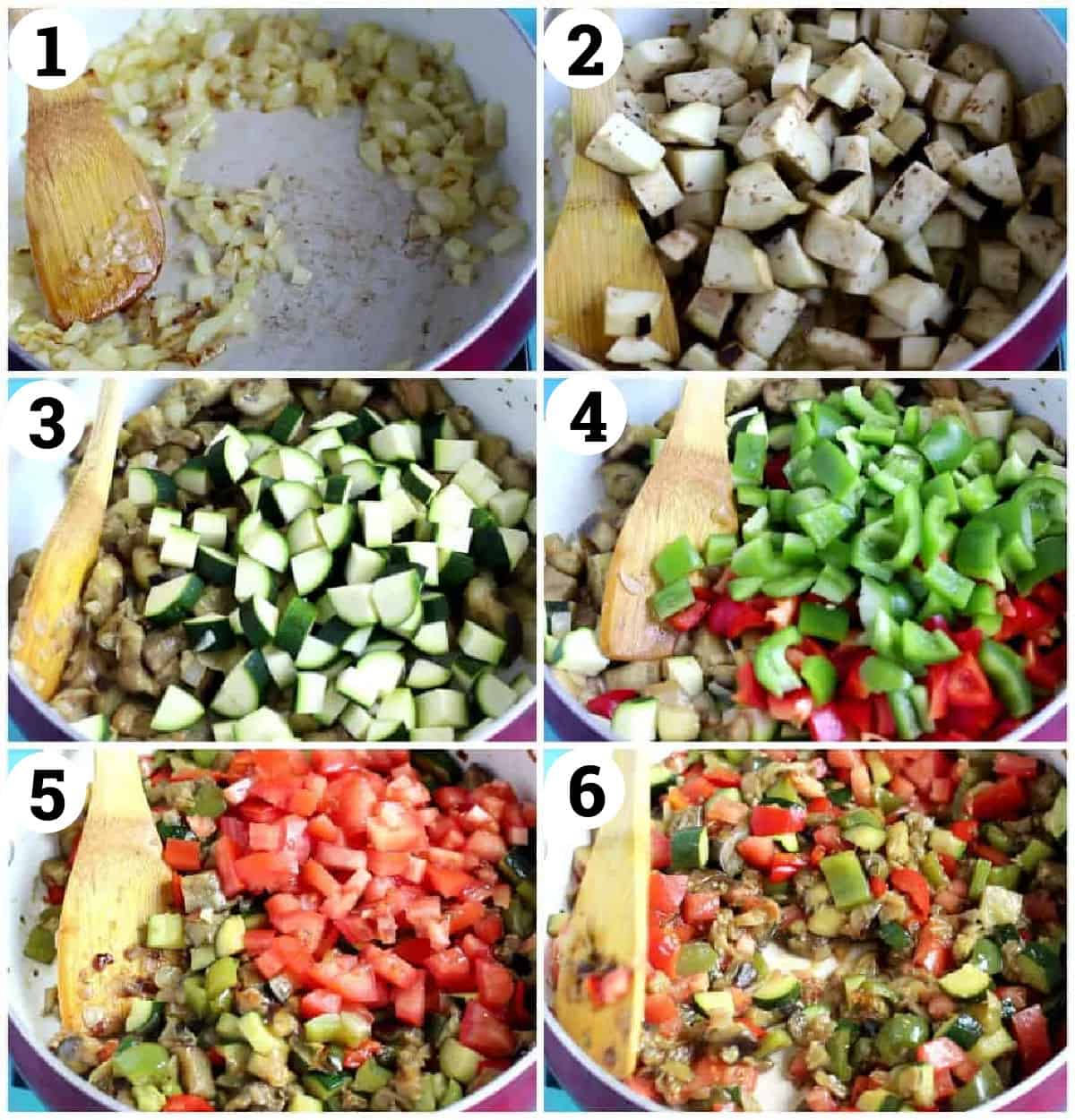 saute onion and garlic, add in eggplant and cook. Add zucchini and peppers. Add in tomatoes and spices. Cook for about 25 minutes.
