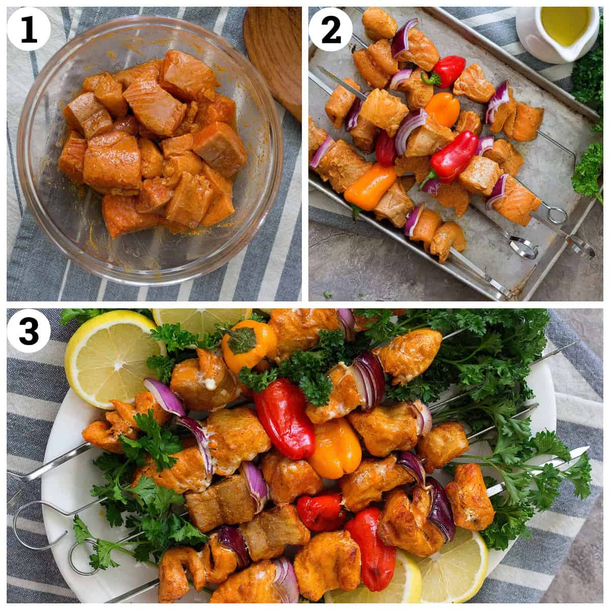 marinate the salmon in spices, thread on skewers and grill for 5 minutes on each side.