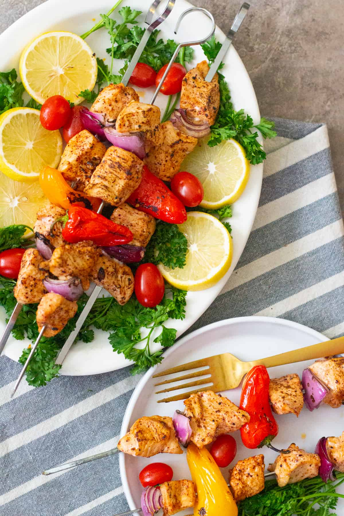 Heat the grill and once the grill is ready, thread the marinated chicken and vegetables on skewers and grill until fully cooked. Serve warm.