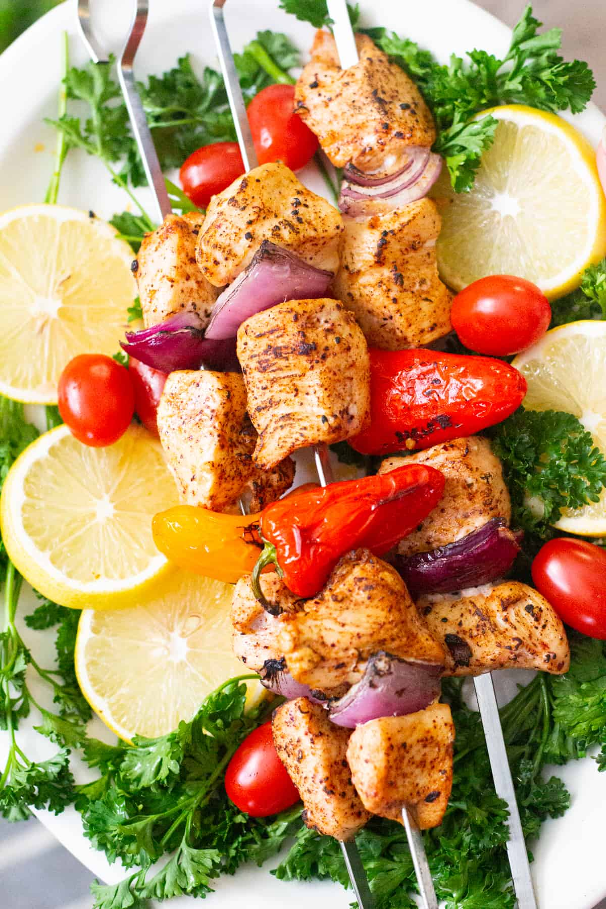 grilled chicken shish kabob is perfect for summer.