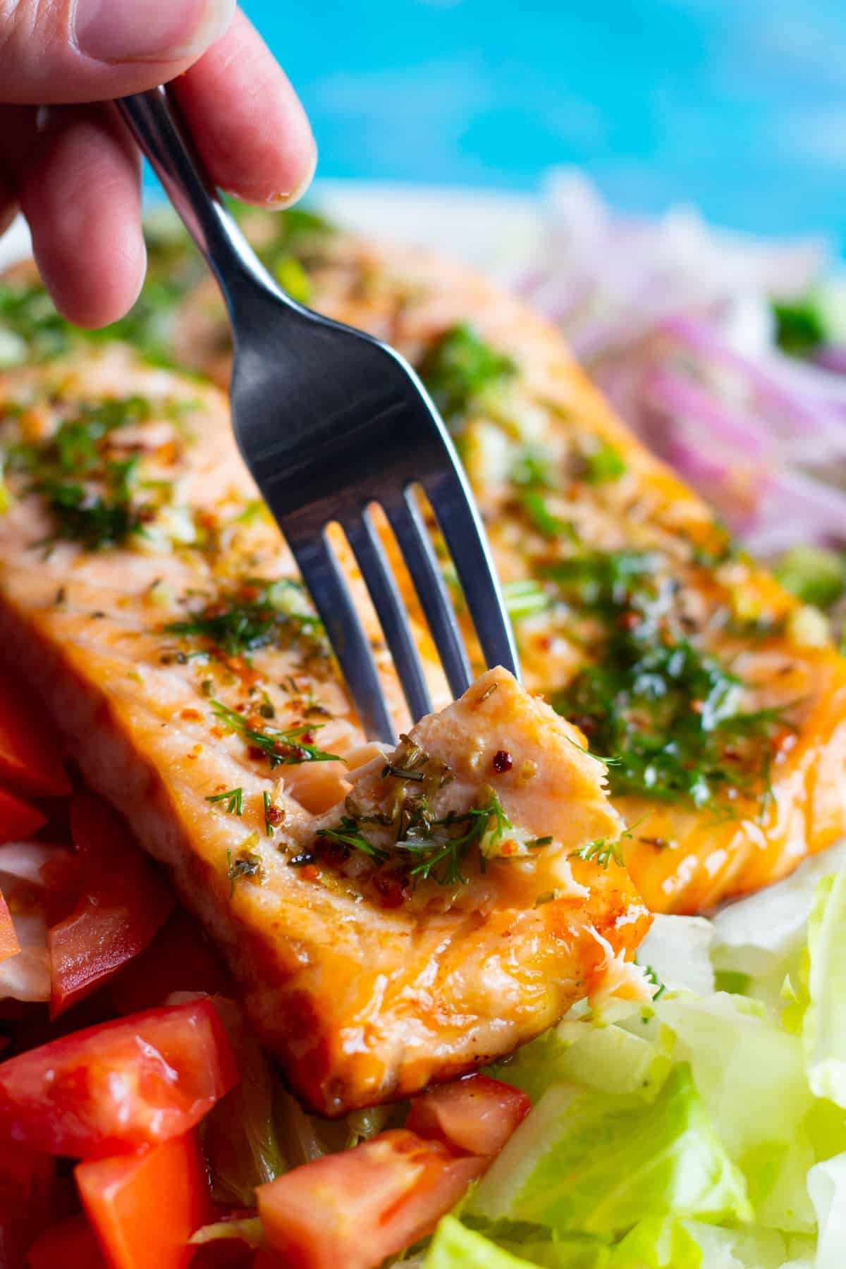 salmon on this salad is very flaky and perfectly cooked. It's topped with a lemon dill dressing.