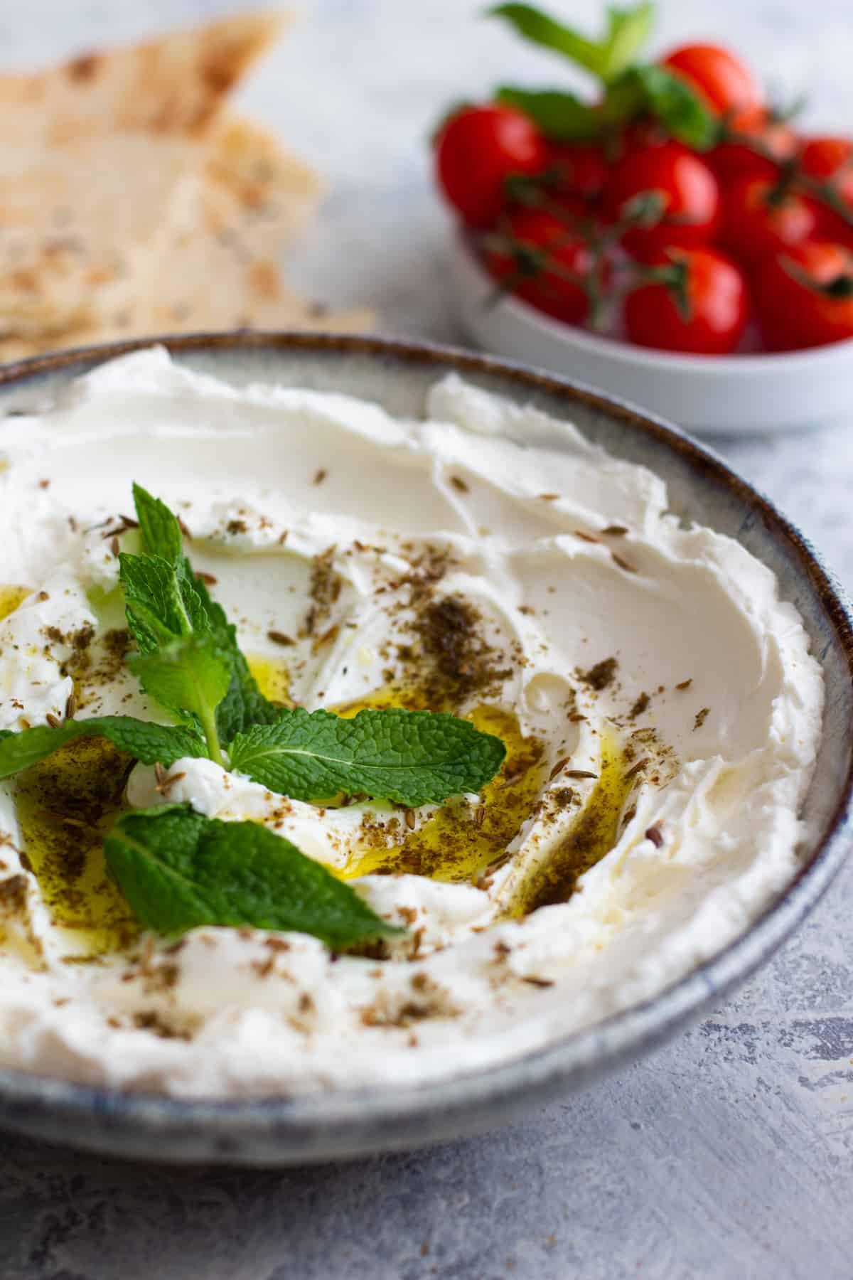 drizzle yogurt cheese with olive oil and top with zaatar fro a classic middle eastern treat.