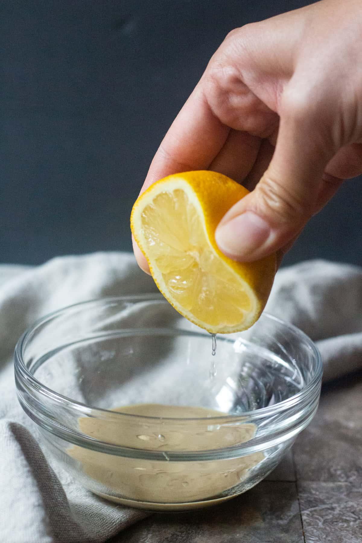 Add lemon to tahini sauce for more flavor.