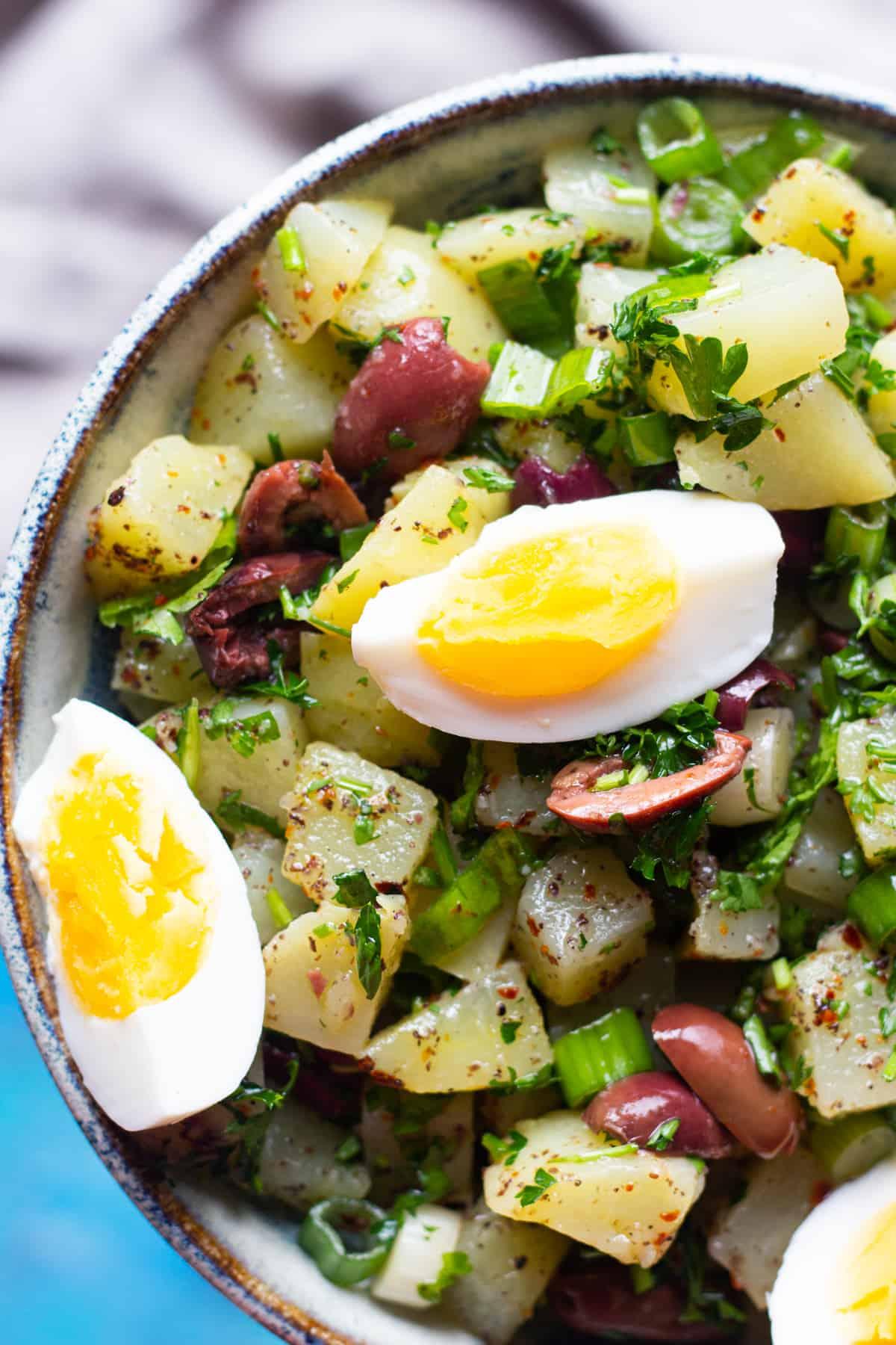 close up shot of Turkish style homemade potato salad