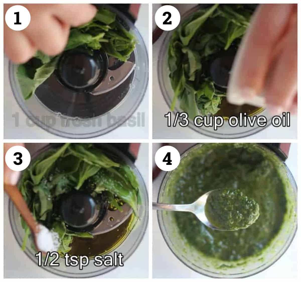 Place basil, olive oil and salt in the blender. Blend until creamy.