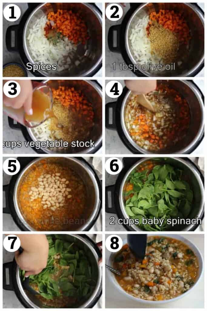 Mix all the ingredients and pour in vegetable stock. Cook and then add beans and spinach.