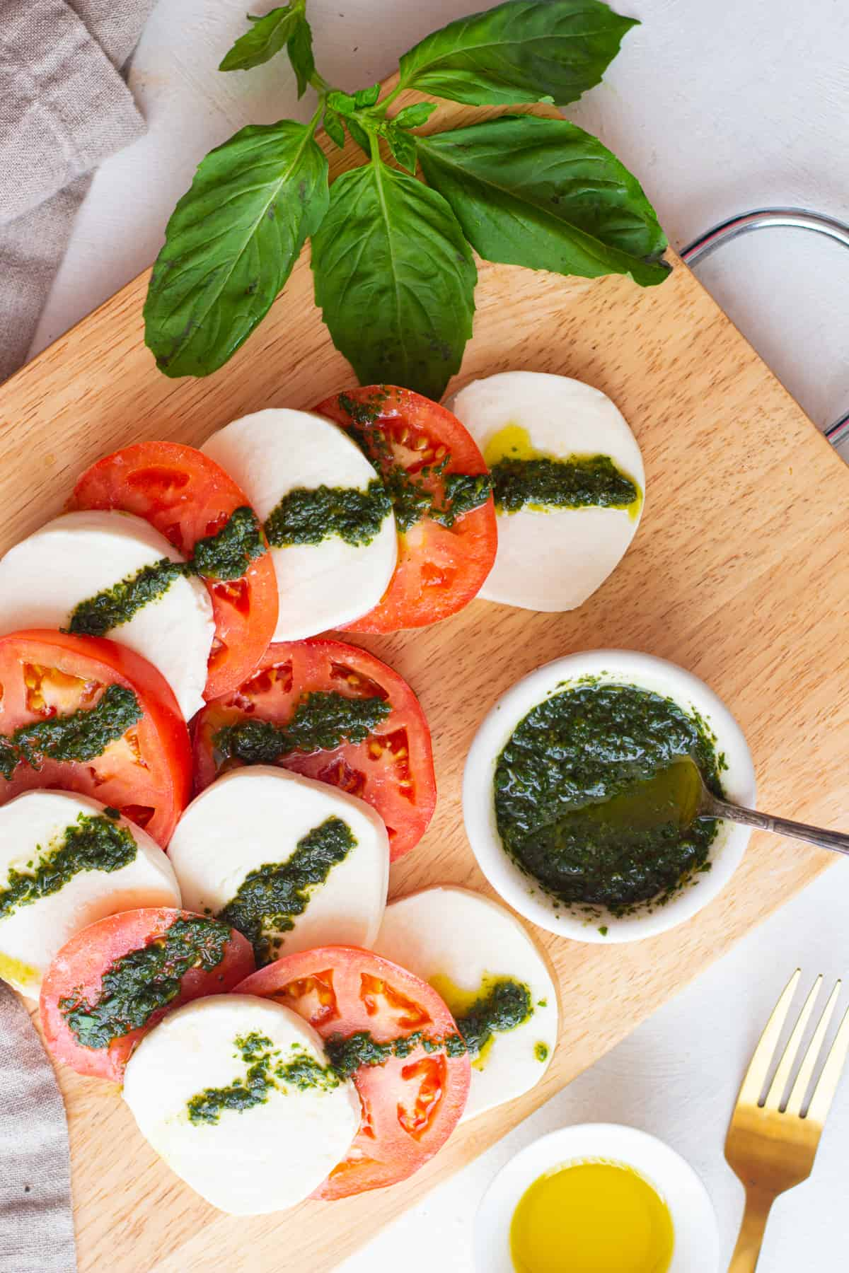 This basil olive oil is also perfect for caprese salad.