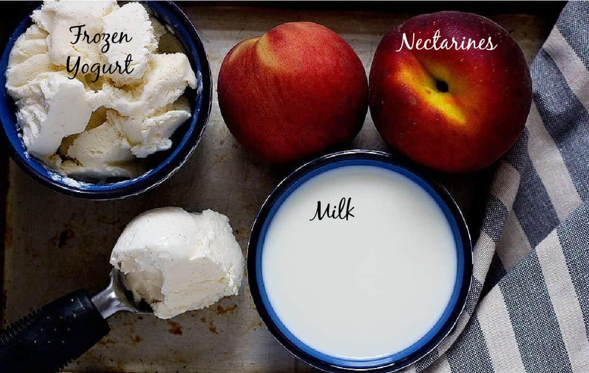 Healthy Milkshake ingredients are peaches and nectarines, frozen yogurt and non fat milk.