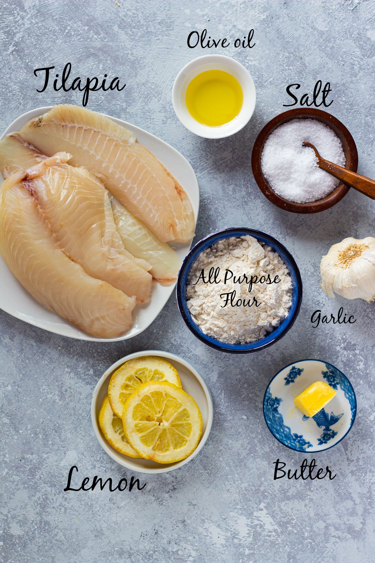 To make this tilapia recipe you need lemon, tilapia, garlic, butter, spices and olive oil.