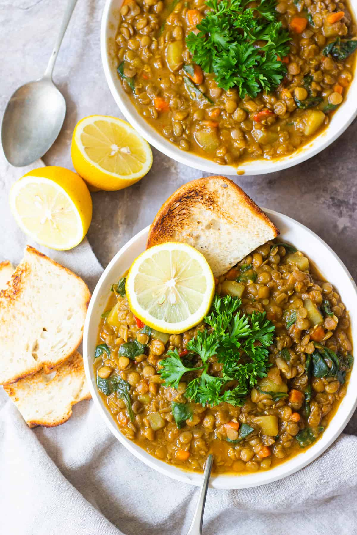 This green lentil soup is great for weeknight dinners. Finally, a lentil soup recipe that's jam-packed with Mediterranean flavors!