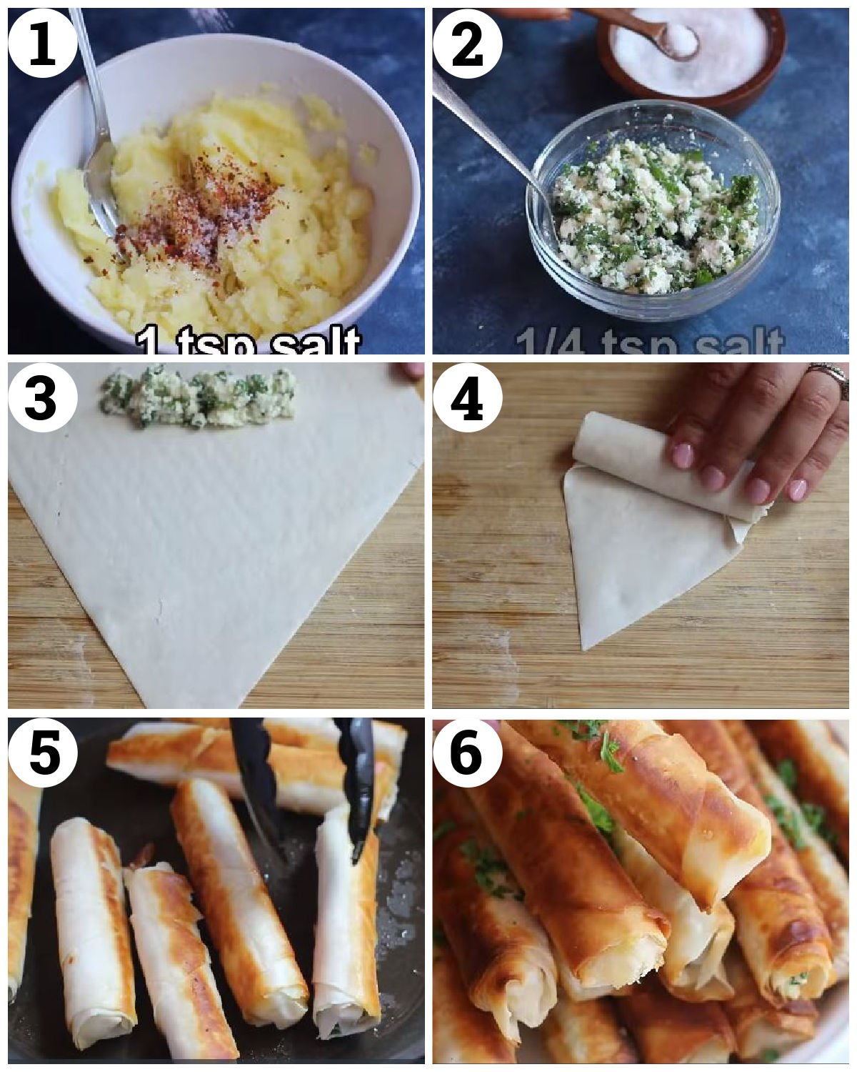 make the filling, fill the borek sheets and roll. Fry and serve.