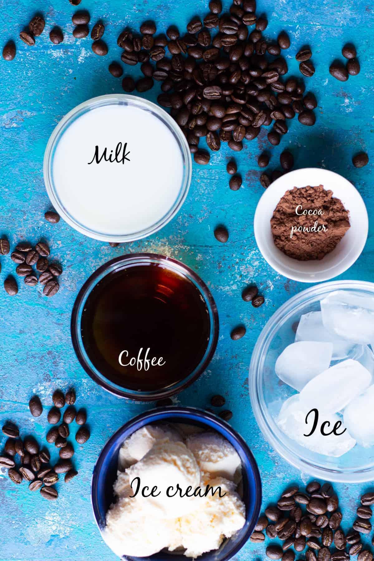 you need brewed coffee, vanilla ice cream, milk, cocoa powder and ice to make milkshake.