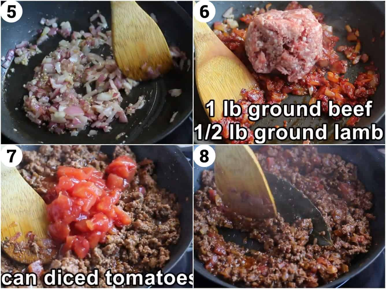 to make the meat sauce saute onion and garlic add tomato paste and ground meat then add the tomatoes and cook.