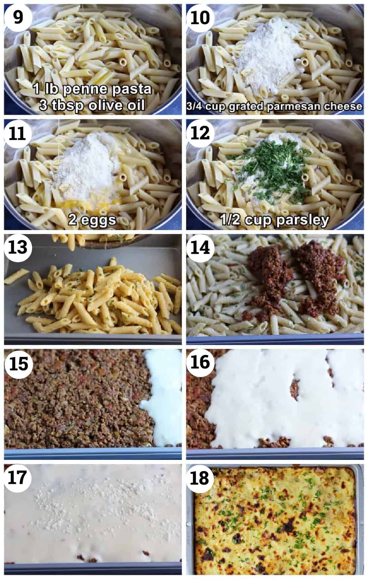 cook the pasta, add parmesan, add eggs and parsley. Layer with the meat sauce and white sauce. Bake in the oven.