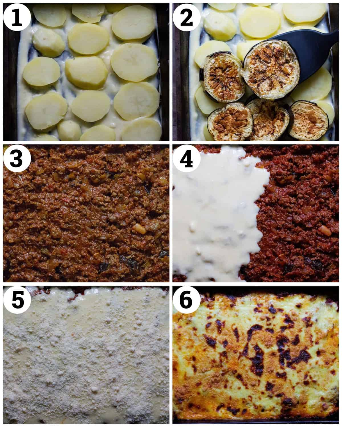 place the potatoes, add the eggplant and the sauce top with bechamel and parmesan then bake.